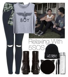 """""""Relaxing with 5 Seconds of Summer"""" by lovatic92 ❤ liked on Polyvore featuring Topshop, Pull&Bear, Charlotte Olympia, Smashbox, Elizabeth Arden, Faith Connexion, women's clothing, women, female and woman"""