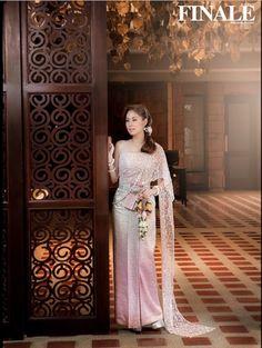 Light Pink Traditional Thai Dress Model: Kwan Usamanee Vaithayanon  Credit: FINALE Wedding Studio Thai Traditional Dress, Traditional Outfits, Thai Wedding Dress, Wedding Gowns, Thai Brides, Thai Fashion, Women's Fashion, Cambodian Wedding, Ceremony Dresses