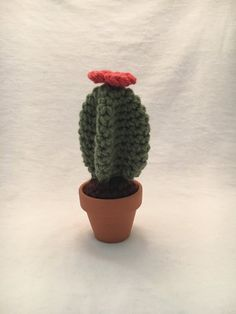 Twisted Cactus - Mini Crochet Cactus with Coral Red Flower