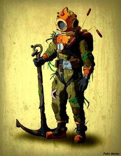 Photo by Ancient Mariner Diving Helmet, Diving Suit, Scuba Diving Magazine, Diver Down, Deep Sea Diver, Desenho Tattoo, Ocean Art, Ocean Underwater, Pulp Art