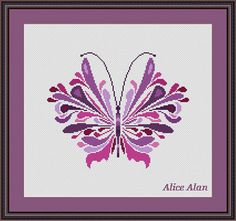 Cross Stitch Pattern Butterfly Lilac fantasy от HallStitch на Etsy