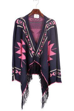 tribal cardigan <3 #pink #navy