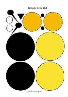 Cut and Paste Shape Craft - Bee Puzzle (in Color & B&W both) Bee Crafts For Kids, Animal Crafts For Kids, Baby Crafts, Toddler Crafts, Art For Kids, Quick Crafts, Craft Activities, Preschool Crafts, Bee Party