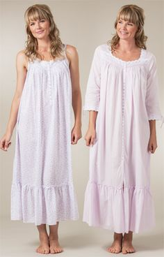 ce34118502 Eileen West Button-Front Robe - 3 4 Sleeve Cotton Lawn Long Nightgown -