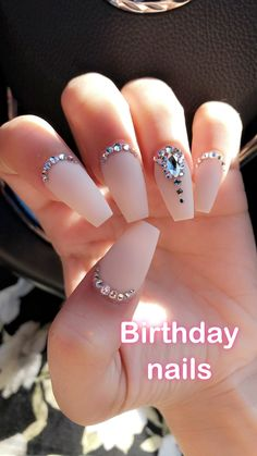 39 Birthday Nail Art Design That Makes Your Queen Style - Coffin Nai . - 39 Birthday Nail Art Design That Makes Your Queen Style – Coffin Nails – the - Birthday Nail Designs, Birthday Nail Art, Birthday Design, Nail Art Rhinestones, Rhinestone Nails, Nail Jewels, Nail Gems, Rhinestone Nail Designs, Silver Nail Designs