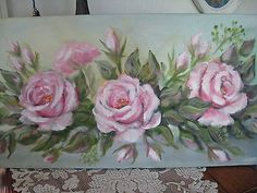 ORIGINAL OIL PAINTING ROSES PINK DEWALD SHABBY COUNTRY ROMANTIC CHIC ART COTTAGE on Ebay.