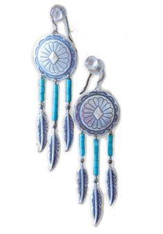 Turquoise Dreamcatcher Earrings  http://www.blusnobs.com/jewelry/403g5gh4v2do0rpnbit8ox2xu9w43p #turquoise #farrahbjewelry