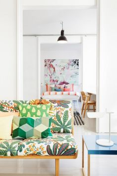 Interior photography by Linda Bergroth (http://www.viewmasters.fi/linda-bergroth/?slideshow=true#ad-image66) ~ via La maison d'Anna G.   Josef Frank textile on sofa. there's an education in looking at the way other patterns were mixed with Mr. Frank's bold leafy one. - Wow!