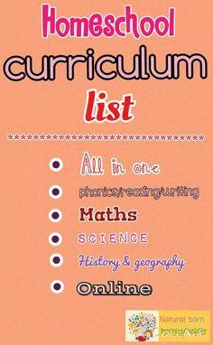 homeschool curriculum list http://naturalbornhomeschooler.com/homeschool-curriculum-list/