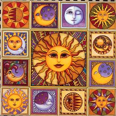 Sun and Moon Mosaic Art Print by Dan Morris. Sun Moon Stars, My Sun And Stars, Art Soleil, Dan Morris, Sun Painting, Sun Art, Hippie Art, Artist Trading Cards, Sacred Geometry