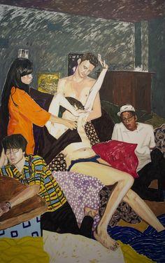 Kaarlo Stauffer: Sunlight bathed the golden glow, 2013, öljy kankaalle, 230x144 cm -  Taidemaalariliiton teosvälitys 2016