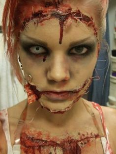 faces sewn together costume make up | Lindas Sminkblogg.....cool sewn-on face!