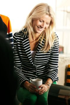 Gwyneth Paltrow in Black and White Striped Jacket, Lindex campaign.