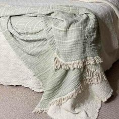 Linen Throw Blanket Coastal Beauty - Sage - Yummy Linen Cotton Throws, Cotton Bedding, Linen Bedding, Cotton Kimono, Cotton Muslin, Large Throws, Linen Sheets, Queen Size Bedding, Quilt Sets