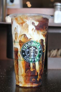 Iced Coffee with shots of Espresso, Cream & a Caramel drizzle down the inside.
