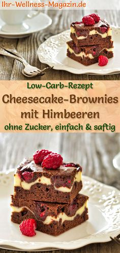 Low Carb Cheesecake Brownies with Raspberries - Simple recipe without sugar - Low Carb Kuchen Rezepte - Cupcakes Cheesecake Brownies, Low Carb Cheesecake, Easy Cheesecake Recipes, Cake Mix Recipes, Easy Cookie Recipes, Dessert Recipes, Protein Brownies, Fudge Brownies, Flour Recipes