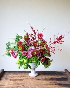 Winter Styling: Kale and Citrus - Tulipina Flowers: ilex, ranunculus, anemone, kale, lemon, geranium, inkberry, smoke