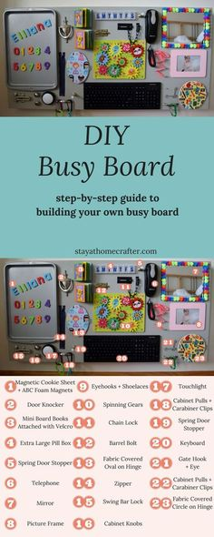 Busy Boards are perfect for engaging little minds. Building your own busy board is a simple task that will yield hours of enjoyment from your little one. Here is a step-by-step guide to building your own busy board!