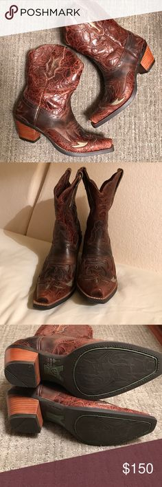 🎉Flash Sale - 2 Hours!🎉 Stunning Ariat boots! 🎉Host Pick!🎉These are like new - only worn once!  Ariat style 10008781.  Brown and turquoise. Ariat Shoes