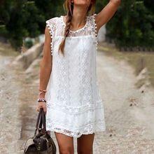 Vestido de verano 2015 Sexy mujeres sin mangas ocasionales de playa corto vestido de la borla de Solid Mini vestido de encaje blanco Vestidos tallas grandes(China (Mainland))