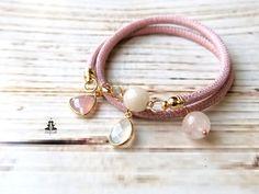 Armband mit Anhängern in Pantone Trendfarbe Rosenquarz / trendy bracelet, pantone 2016, rose quartz made by Ladyville via DaWanda.com