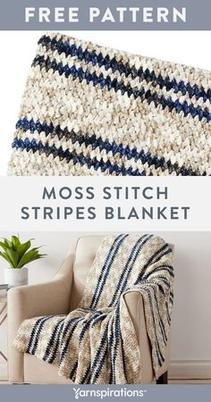 Free Moss Stitch Stripes Blanket crochet pattern using Bernat Crushed Velvet yarn. Simple stripes combine with a richly textured moss stitch design to create this wonderful crochet blanket. Bernat Crushed Velvet is perfect for this project, bringing out the simple single crochet and chain stitches in the moss stitch pattern to create a gorgeous woven effect. #Yarnspirations #FreeCrochetPattern #CrochetAfghan #CrochetThrow #CrochetBlanket #BernatYarn #BernatVelvet Striped Crochet Blanket, Knit Or Crochet, Single Crochet, Crochet Afgans, Crochet Square Patterns, Crochet Blanket Patterns, Afghan Patterns, Crochet Ideas, Crochet Projects