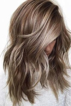 Ash Blonde Highlights on Brunette #WomenHairstyles