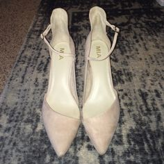 MIA nude suede strappy pumps Size 10 Excellent condition, only worn once for a wedding. Selling because I am not cool enough to wear these regularly :) Size 10 fits true to size. More comfortable / easy to walk in than they appear. Beautiful on and make legs look long. Let me know if you have questions. MIA Shoes Heels