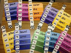 Prefixes and Suffixes on paint chip samples. Have students create the new words and write them down and define them based on their knowledge of what the base-word means and what the prefix means. Can also use for suffixes.