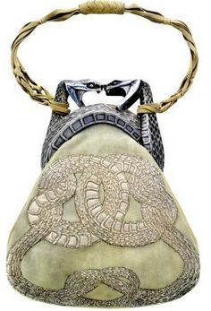 Lalique c1903, Snake Handbag. Chased silver, antelope skin, silk, metallic thread