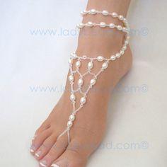 beach wedding attire for feet | Freshwater Pearl Sandals for your Destination Wedding