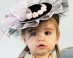 Baby Hat  Classic Pink and Black Fascinator for Babies by Amarmi, $48.00