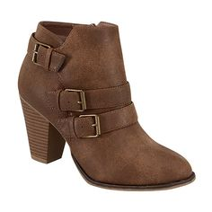 Forever Link Shoes Tan Buckle Camila Bootie ($23) ❤ liked on Polyvore featuring shoes, boots, ankle booties, ankle boots, high heel boots, short high heel boots, tan ankle boots, tan ankle booties and tan boots