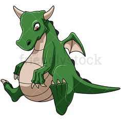 Fat Dragon: Royalty-free stock vector illustration of a green chubby dragon, possibly a pregnant female, looking at its belly. #friendlystock #clipart #cartoon #vector #stockimage #art #dragon #got #creature #pregnant