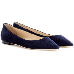 Jimmy Choo Romy Suede Ballerinas (10,325 MXN) found on Polyvore featuring women's fashion, shoes, flats, ballerinas, sapatilha, sapatos, blue, ballerina flat shoes, ballet flats and flat shoes