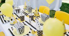 """Bumble Bee Party Details: This is what Sarah said about designing the party: """"This was a super fun buzzing 'bee' day party I threw together for my two cheeky nephews Max and Levi in my new backyard. Finally I have the space to throw a bash, so these little darlings were the first to try it out. The amazing Jordan from Redmoose Photography was there to capture all the fun. Max was stung by a bee a few months before and has been obsessed with them ever since. There was only ever one choice…"""