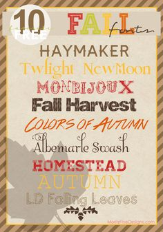 10 Favorite Fall Fonts  ~~ {10 Free fonts w/ easy download links}