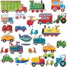 Train, plane, truck decals.