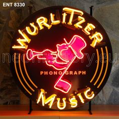 Neonfactory.eu. #wurlitzer #music #neon.Ent 8330. Fore more exciting new products please visit our website: www.Neonfactory.eu Advertising Signs, Vintage Advertisements, Metal Signage, Roadside Signs, Neon Jungle, Vintage Neon Signs, Neon Nights, Neon Light Signs, Old Signs