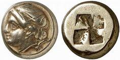 GREEK COIN, IONIA PHOCAEA. Hecte, electrum, 340-335 BC. EL 2.55 g. Female head l., below truncation, seal. Rev. Four-part incuse square. SNG von Aulock 7953. Bodenstedt 175, Em 106, 12