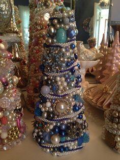 "Handmade Vintage Jewelry Tree OOAK 9.5"" Blue Rhinestones Pearls Brooches Chic on Etsy, $65.00"
