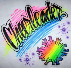 Custom Airbrushed // Cheerleader T Shirt Design // Rainbow