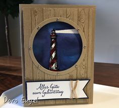 Lighthouse, From Land to Sea, Circle Framelits, Hardwood, Crumb Cake card stock Masculine Birthday Cards, Masculine Cards, Nautical Cards, Beach Cards, Birthday Cards For Women, Fathers Day Cards, Tampons, Scrapbook Cards, Scrapbooking