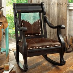 Turquoise Leather Rocker