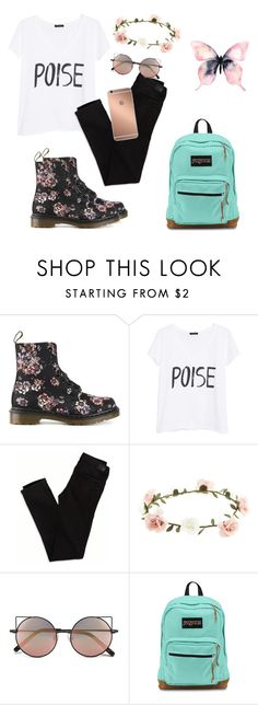 """""""untitled #0008"""" by bri-simpson116 ❤ liked on Polyvore featuring Dr. Martens, MANGO, American Eagle Outfitters, Accessorize, Mura, Linda Farrow and JanSport"""