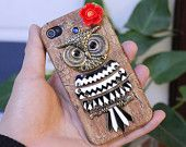 Antique Brass Big Crystral Cute Owl Hard Case Cover for iPhone 4 Case, iPhone 4s Case, iPhone 4 Hard Case, iPhone Case MB106. $9.99, via Etsy.