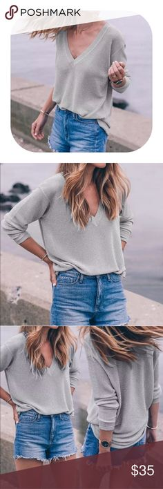 v neck knit sweater Brand new with tag. Get 15% off when you buy two or more. Tops Tees - Long Sleeve