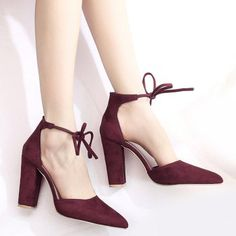 SHARE & Get it FREE | Chunky Heel Pointed Toe Ankle Lace PumpsFor Fashion Lovers only:80,000+ Items·FREE SHIPPING Join Dresslily: Get YOUR $50 NOW!