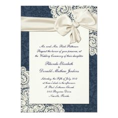 Shabby Chic Wedding Invitations Chic Country Denim Damask & Ivory Lace Wedding Card
