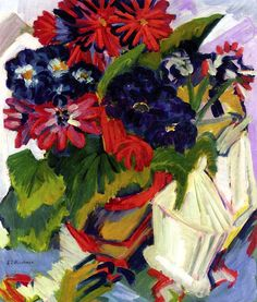 Flower Pot and Sugar Bowl (also known as Flowers) Ernst Ludwig Kirchner - 1918-1919